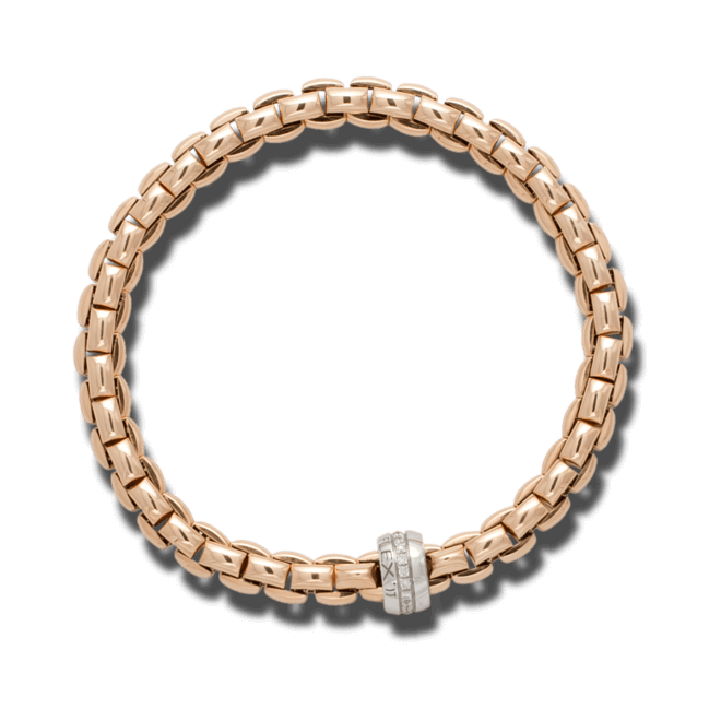 Armband Fope Flex'it Eka Roségold aus 750 Roségold und 750 Weißgold mit mehreren Brillanten (0,18 Karat) Größe S
