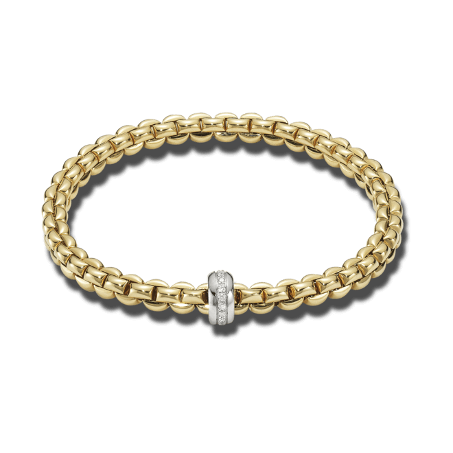 Armband Fope Flex'it Olly Gelbgold aus 750 Gelbgold und 750 Weißgold mit mehreren Brillanten (0,15 Karat) Größe L