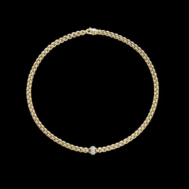 Halskette Fope Flex'it Olly Gelbgold aus 750 Gelbgold und 750 Weißgold mit mehreren Brillanten (0,37 Karat)