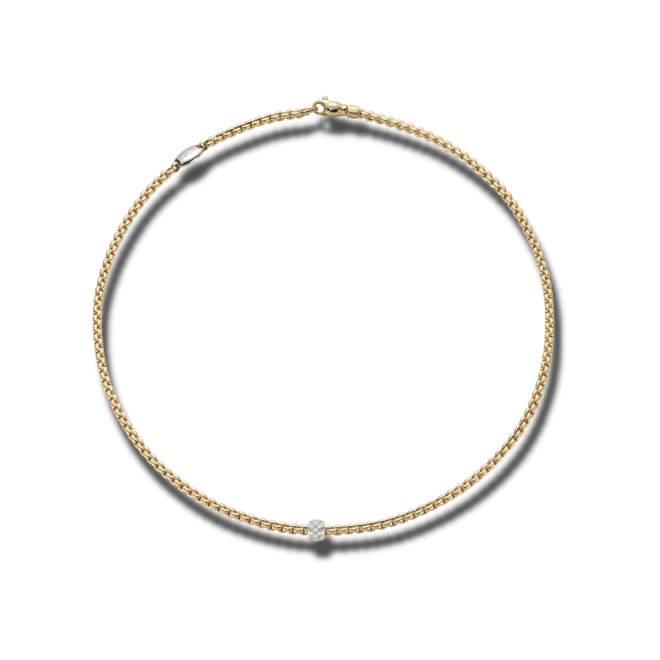 Halskette Fope Eka Tiny Gelbgold aus 750 Gelbgold mit mehreren Brillanten (0,19 Karat)
