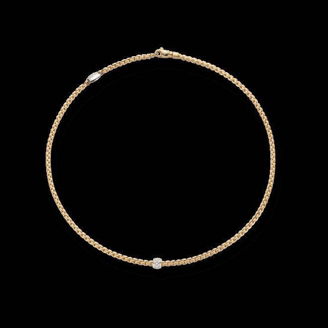 Halskette Fope Eka Tiny aus 750 Gelbgold mit mehreren Brillanten (0,19 Karat)