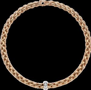 Halskette Fope Eka Anniversario aus 750 Roségold und 750 Weißgold mit mehreren Brillanten (0,19 Karat)