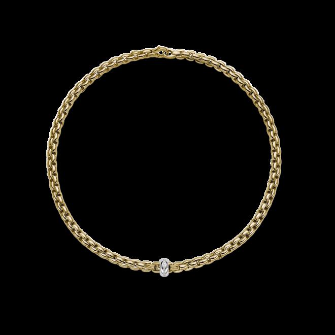 Halskette Fope Eka Anniversario aus 750 Gelbgold und 750 Weißgold mit mehreren Brillanten (0,13 Karat)