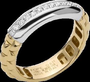 Ring Fope Eka Anniversario aus 750 Gelbgold und 750 Weißgold mit mehreren Brillanten (0,11 Karat)