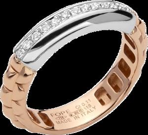 Ring Fope Eka Anniversario aus 750 Roségold und 750 Weißgold mit mehreren Brillanten (0,11 Karat)