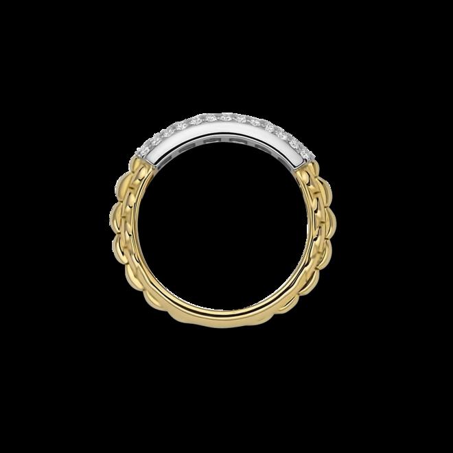 Ring Fope Eka Anniversario aus 750 Gelbgold und 750 Weißgold mit mehreren Brillanten (0,32 Karat)