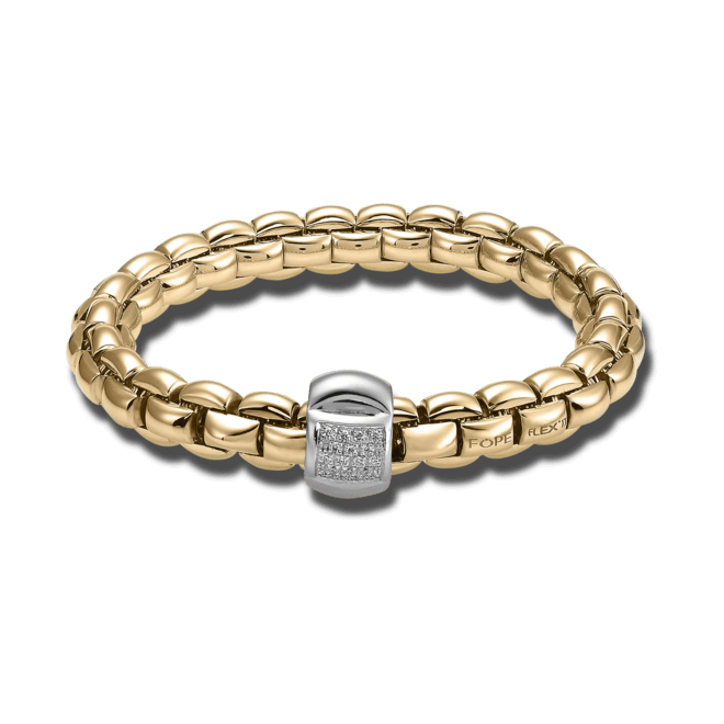 Armband Fope Flex'it Eka aus 750 Roségold und 750 Weißgold mit mehreren Brillanten (0,25 Karat) Größe L