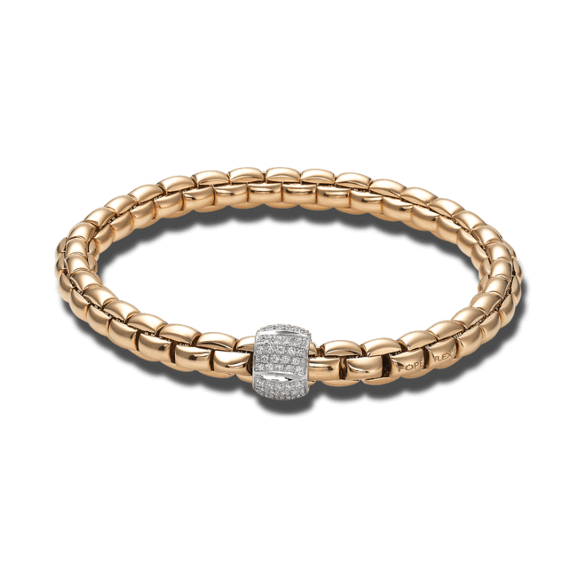 Armband Fope Flex'it Eka aus 750 Roségold mit mehreren Brillanten (0,49 Karat) Größe M