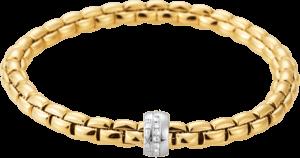 Armband Fope Flex'it Eka aus 750 Gelbgold und 750 Weißgold mit mehreren Brillanten (0,18 Karat) Größe S