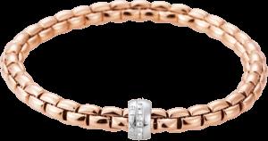 Armband Fope Flex'it Eka aus 750 Roségold und 750 Weißgold mit mehreren Brillanten (0,18 Karat) Größe XS