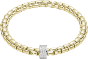 Armband Fope Flex'it Eka aus 750 Gelbgold und 750 Weißgold mit Diamant (0,53 Karat) Größe S