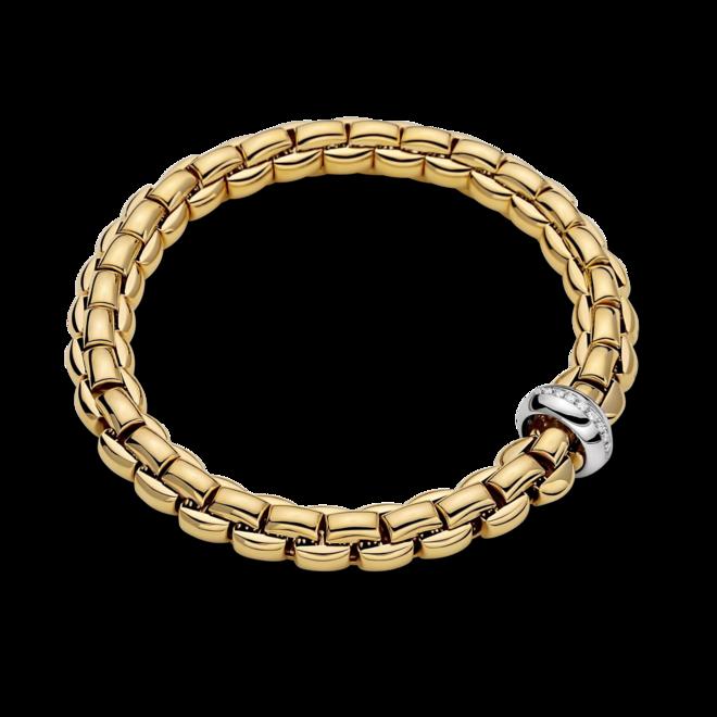 Armband Fope Flex'it Eka Anniversario aus 750 Gelbgold und 750 Weißgold mit mehreren Brillanten (0,19 Karat) Größe XS