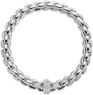 Armband Fope Flex'it Eka Anniversario aus 750 Weißgold mit mehreren Brillanten (0,58 Karat) Größe S