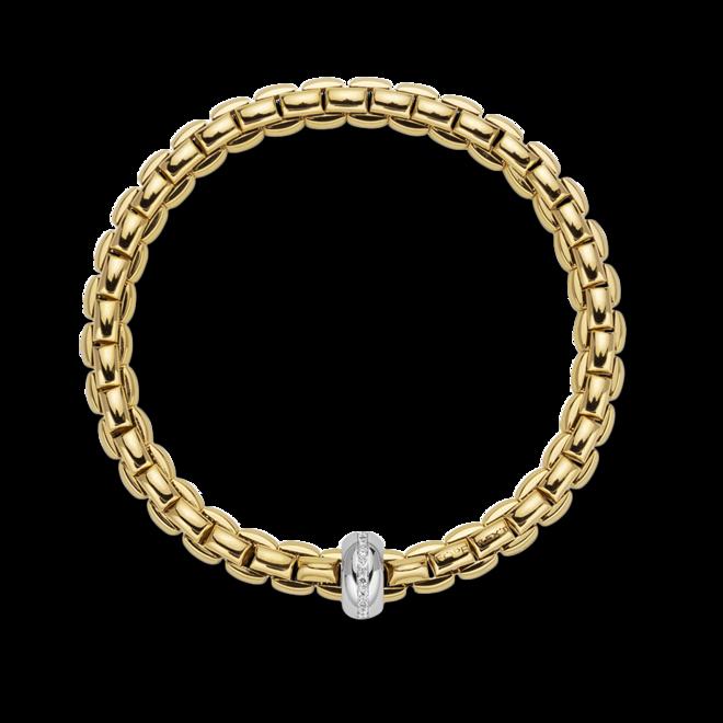 Armband Fope Flex'it Eka Anniversario aus 750 Gelbgold und 750 Weißgold mit mehreren Brillanten (0,13 Karat) Größe XS