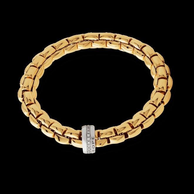 Armband Fope Flex'it Eka aus 750 Gelbgold und 750 Weißgold mit mehreren Brillanten (0,21 Karat) Größe L