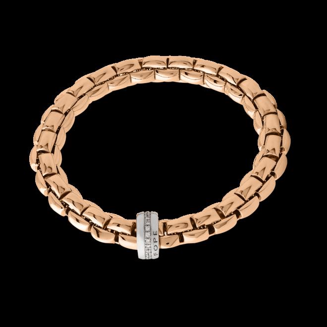 Armband Fope Flex'it Eka aus 750 Roségold und 750 Weißgold mit mehreren Brillanten (0,21 Karat) Größe M