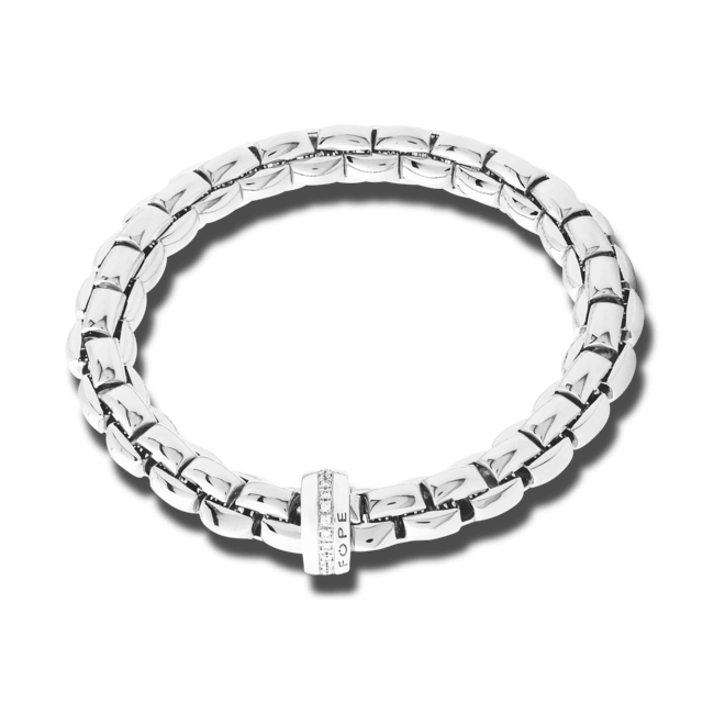 Armband Fope Flex'it Eka aus 750 Weißgold mit mehreren Brillanten (0,21 Karat) Größe M bei Brogle