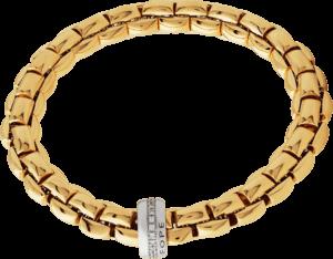 Armband Fope Flex'it Eka aus 750 Gelbgold und 750 Weißgold mit mehreren Brillanten (0,21 Karat) Größe XS