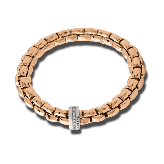 Armband Fope Flex'it Eka aus 750 Roségold und 750 verchromtes Resin mit mehreren Brillanten (0,21 Karat) Größe XS
