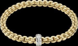 Armband Fope Flex'it Eka aus 750 Gelbgold und 750 Weißgold mit mehreren Brillanten (0,15 Karat) Größe L