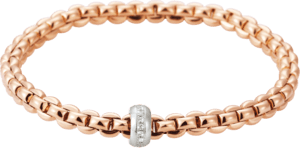 Armband Fope Flex'it Eka aus 750 Roségold und 750 Weißgold mit mehreren Brillanten (0,15 Karat) Größe L