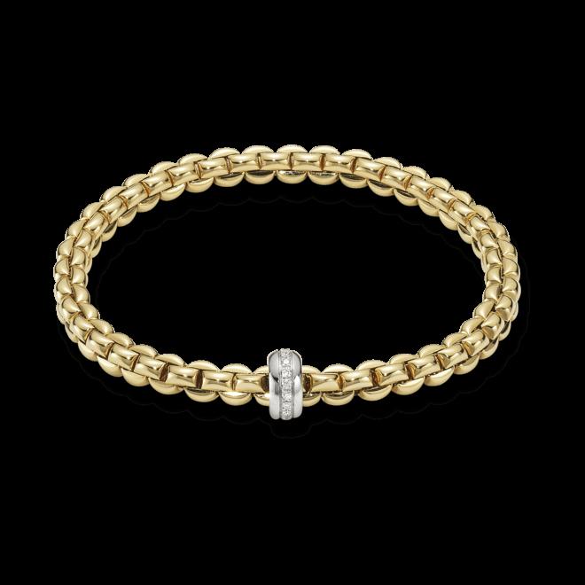 Armband Fope Flex'it Eka aus 750 Gelbgold und 750 Weißgold mit mehreren Brillanten (0,15 Karat) Größe XS