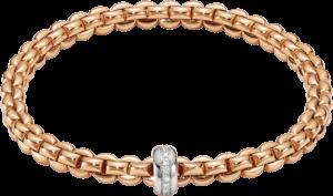 Armband Fope Flex'it Eka aus 750 Roségold und 750 Weißgold mit mehreren Brillanten (0,15 Karat) Größe XS