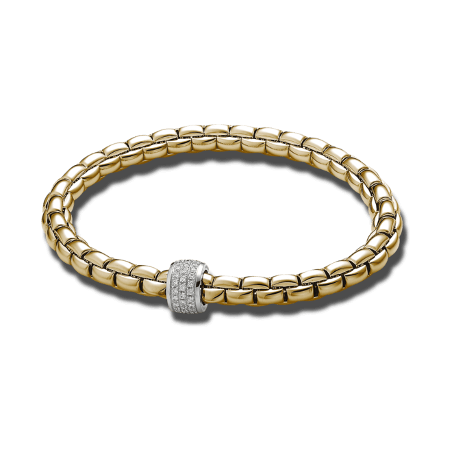 Armband Fope Flex'it Eka aus 750 Gelbgold mit mehreren Brillanten (0,37 Karat) Größe L
