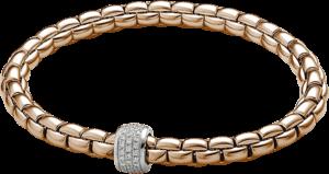 Armband Fope Flex'it Eka aus 750 Roségold und 750 Weißgold mit mehreren Brillanten (0,37 Karat) Größe L