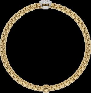 Armband Fope Flex'it Eka aus 750 Gelbgold und 750 Weißgold mit mehreren Brillanten (0,22 Karat) Größe XS