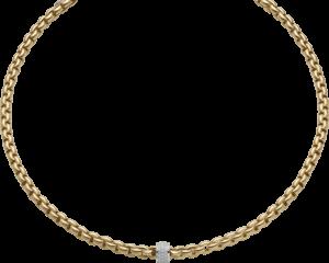 Halskette Fope Flex'it Eka aus 750 Gelbgold mit mehreren Brillanten (0,53 Karat)