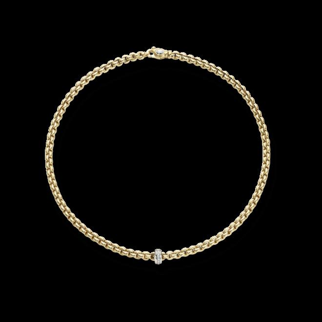 Halskette Fope Flex'it Eka aus 750 Gelbgold und 750 Weißgold mit mehreren Brillanten (0,15 Karat)
