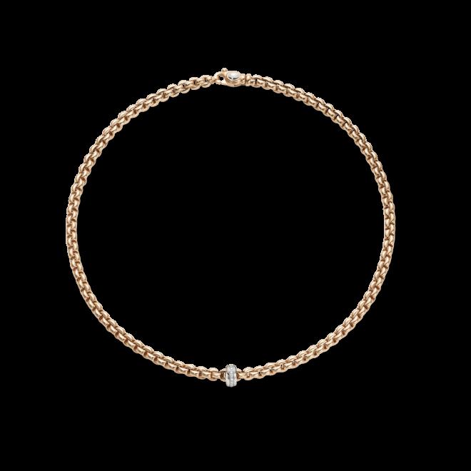 Halskette Fope Flex'it Eka aus 750 Roségold und 750 Weißgold mit mehreren Brillanten (0,15 Karat)