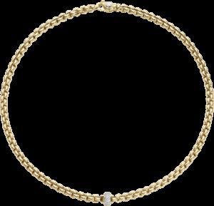 Halskette Fope Flex'it Eka aus 750 Gelbgold und 750 Weißgold mit mehreren Brillanten (0,37 Karat)