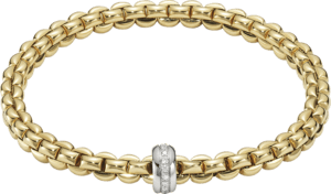 Armband Fope Flex'it Olly aus 750 Gelbgold und 750 Weißgold mit mehreren Brillanten (0,15 Karat) Größe M