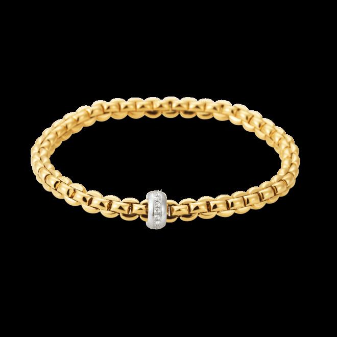 Armband Fope Flex'it Olly aus 750 Gelbgold und 750 Weißgold mit mehreren Brillanten (0,15 Karat) Größe S