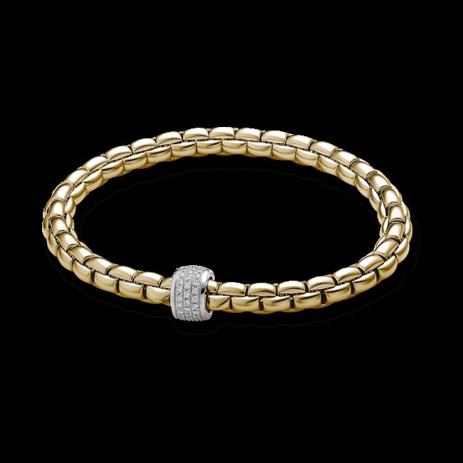 Armband Fope Flex'it Olly aus 750 Gelbgold mit mehreren Brillanten (0,37 Karat) Größe L