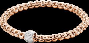 Armband Fope Flex'it Olly aus 750 Roségold und 750 Weißgold mit mehreren Brillanten (0,24 Karat) Größe L