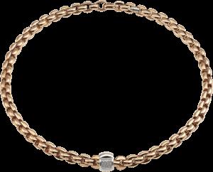 Halskette Fope Flex'it Eka aus 750 Roségold und 750 Weißgold mit mehreren Brillanten (0,25 Karat)