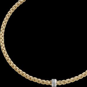 Halskette Fope Flex'it Eka aus 750 Gelbgold mit mehreren Brillanten (0,2 Karat)
