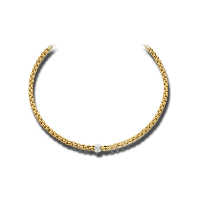 Halskette Fope Flex'it Eka aus 750 Gelbgold und 750 Weißgold mit mehreren Brillanten (0,63 Karat)