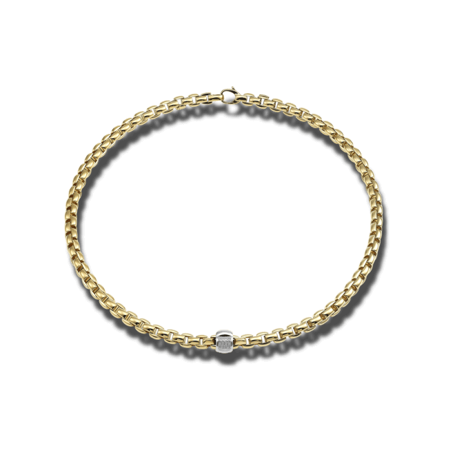 Halskette Fope Flex'it Eka aus 750 Gelbgold mit mehreren Brillanten (0,24 Karat)
