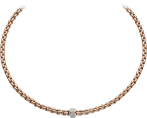 Halskette Fope Flex'it Eka aus 750 Roségold mit mehreren Brillanten (0,53 Karat)