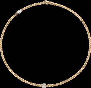 Halskette Fope Eka aus 750 Weißgold und 750 Gelbgold mit mehreren Brillanten (0,19 Karat)