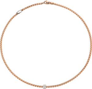 Halskette Fope Eka aus 750 Roségold und 750 Weißgold mit mehreren Brillanten (0,19 Karat)