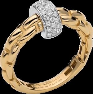 Ring Fope Eka aus 750 Gelbgold und 750 Weißgold mit mehreren Brillanten (0,22 Karat)