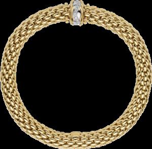 Armband Fope Flex'it Love Nest aus 750 Gelbgold und 750 Weißgold mit mehreren Brillanten (0,12 Karat) Größe XS