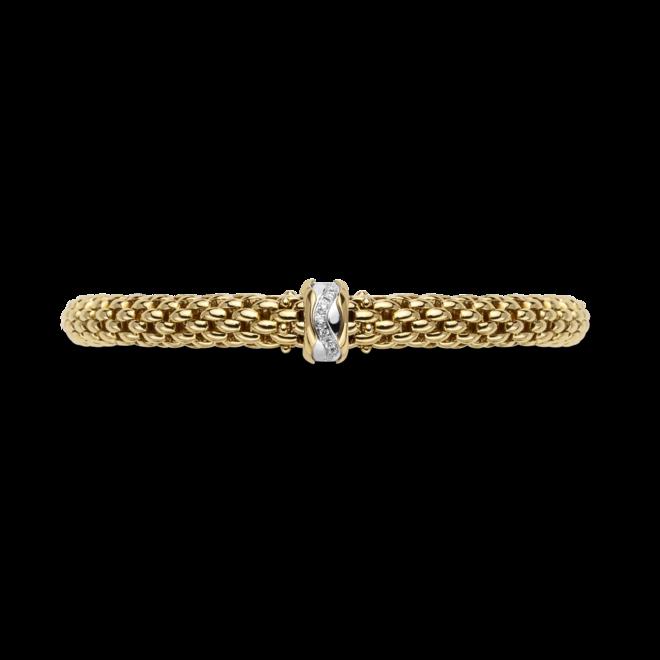 Armband Fope Flex'it Love Nest aus 750 Gelbgold und 750 Weißgold mit mehreren Brillanten (0,12 Karat) Größe XS bei Brogle