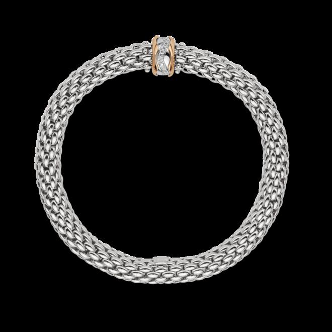 Armband Fope Flex'it Love Nest aus 750 Weißgold und 750 Roségold mit mehreren Brillanten (0,12 Karat) Größe XS