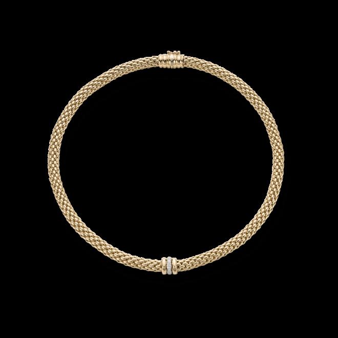 Halskette Fope Flex'it Love Nest aus 750 Gelbgold mit mehreren Brillanten (0,19 Karat)